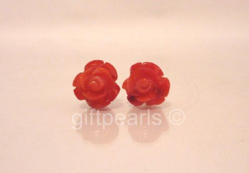 Red Coral Roses on solid 925 Sterling silver posts
